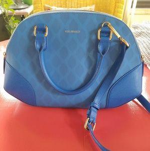 Vera Bradley Leather IKAT Blue Angled Bowler Bag